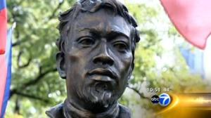 DuSable bust dedicated in Chicago This bronze sculpture is located the north side of the Chicago River and Michigan Avenue.